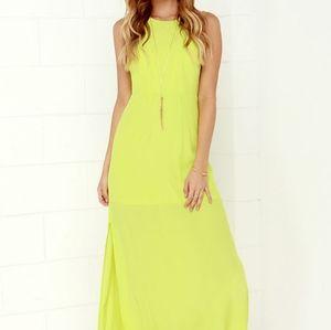 Lulu's Mayan Empress Chartreuse Maxi Dress